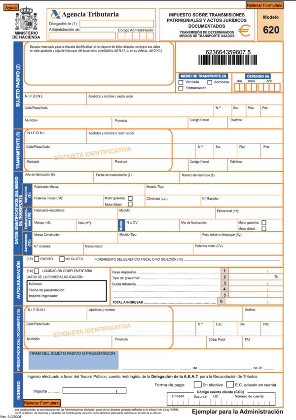 ¿Qué es el Modelo 620 de la DGT? Dónde se puede descargar y cómo pagar este impuesto de modo online Modelo 620 1