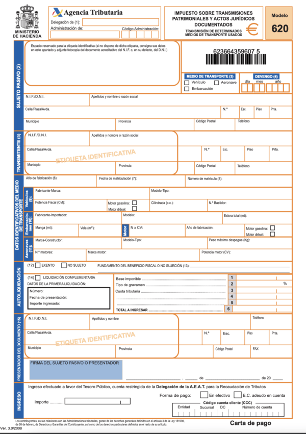 ¿Qué es el Modelo 620 de la DGT? Dónde se puede descargar y cómo pagar este impuesto de modo online Modelo 620 3
